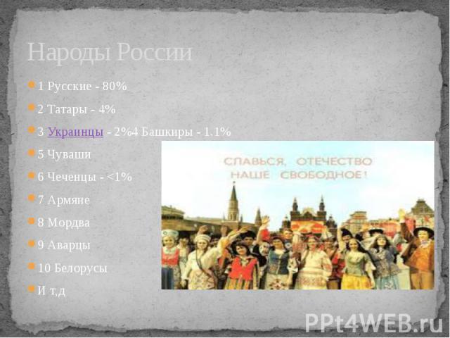 Народы России 1 Русские - 80% 2 Татары - 4% 3 Украинцы- 2%4 Башкиры - 1.1% 5 Чуваши 6 Чеченцы - <1% 7 Армяне 8 Мордва 9 Аварцы 10 Белорусы И т,д