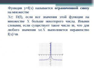 Функция у=f(x) называется ограниченной снизу на множестве Функция у=f(x) называе