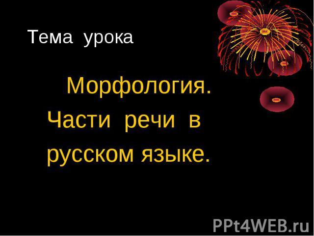 Морфология. Морфология. Части речи в русском языке.