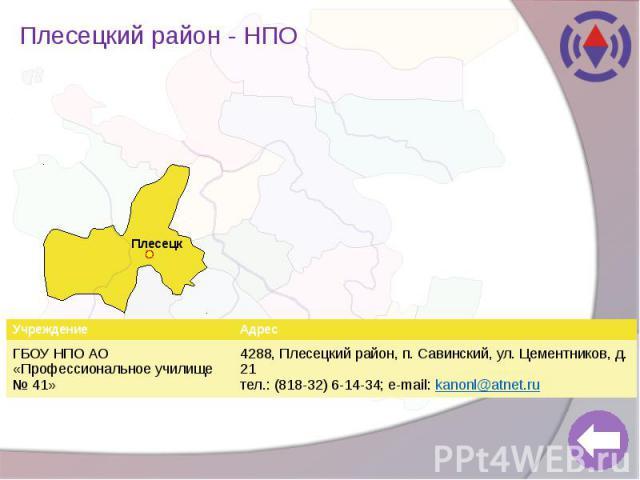 Плесецкий район - НПО