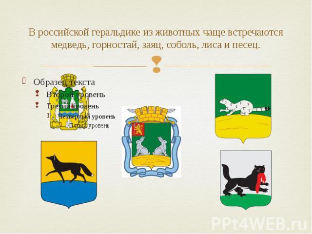 В российской геральдике из животных чаще встречаются медведь, горностай, заяц, соболь, лиса и песец.