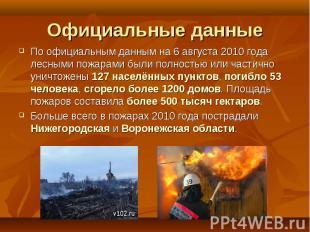 По официальным данным на 6 августа 2010 года лесными пожарами были полностью или