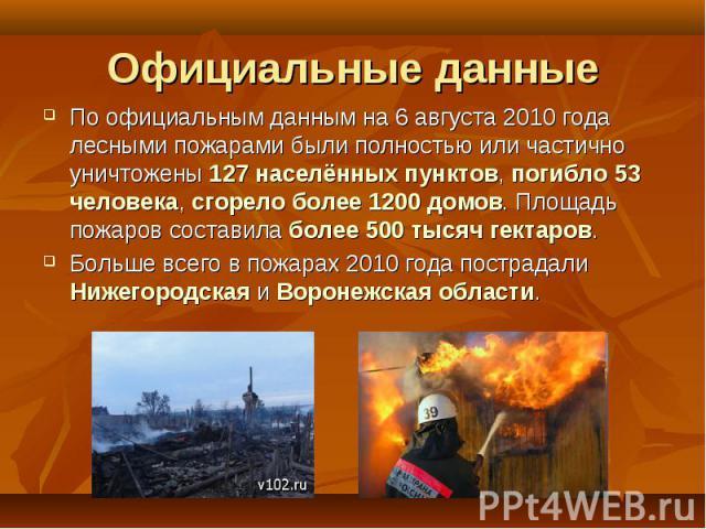 По официальным данным на 6 августа 2010 года лесными пожарами были полностью или частично уничтожены 127 населённых пунктов, погибло 53 человека, сгорело более 1200 домов. Площадь пожаров составила более 500 тысяч гектаров. По официальным данным на …