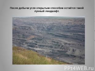 После добычи угля открытым способом остаётся такой лунный ландшафт.