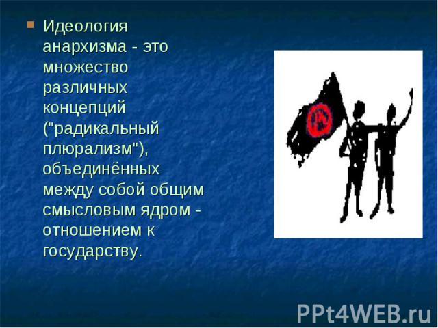 """Идеология анархизма - это множество различных концепций (""""радикальный плюрализм""""), объединённых между собой общим смысловым ядром - отношением к государству."""