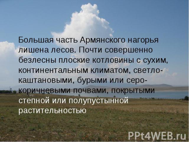 Большая часть Армянского нагорья лишена лесов. Почти совершенно безлесны плоские котловины с сухим, континентальным климатом, светло-каштановыми, бурыми или серо-коричневыми почвами, покрытыми степной или полупустынной растительностью Большая часть …