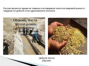 Россия является одним из главных поставщиков золота на мировой рынок и лидером п