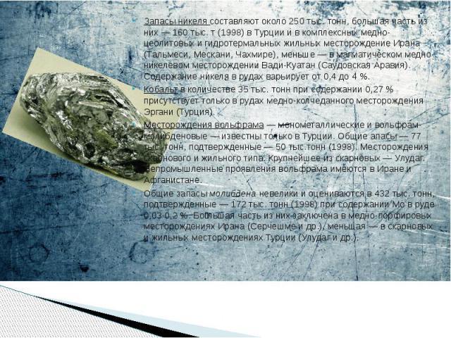 Запасы никеля составляют около 250 тыс. тонн, большая часть из них— 160 тыс. т (1998) в Турции и в комплексных медно-цеолитовых и гидротермальных жильных месторождение Ирана (Тальмеси, Мескани, Чахмире), меньше— в магматическом медно-ник…