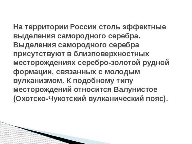 На территории России столь эффектные выделения самородного серебра. Выделения самородного серебра присутствуют в близповерхностных месторождениях серебро-золотой рудной формации, связанных с молодым вулканизмом. К подобному типу месторождений относи…