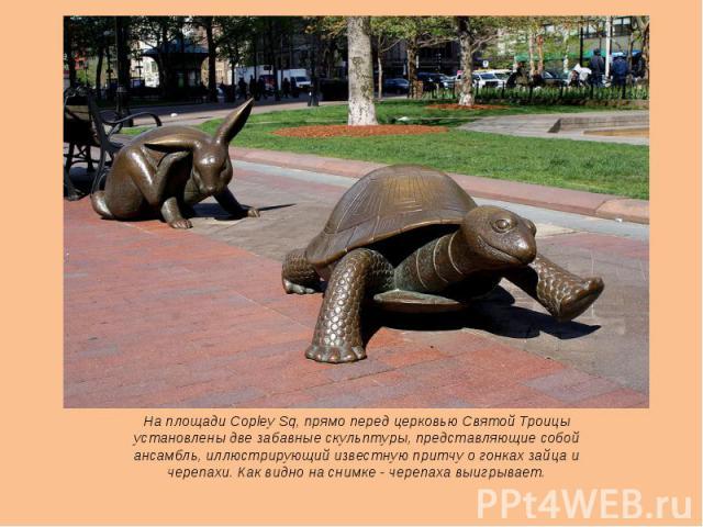На площади Copley Sq, прямо перед церковью Святой Троицы установлены две забавные скульптуры, представляющие собой ансамбль, иллюстрирующий известную притчу о гонках зайца и черепахи. Как видно на снимке - черепаха выигрывает.
