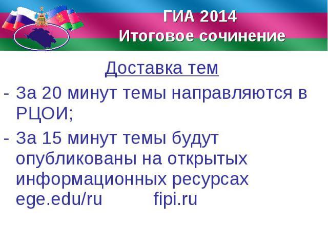 Доставка тем Доставка тем За 20 минут темы направляются в РЦОИ; За 15 минут темы будут опубликованы на открытых информационных ресурсах ege.edu/ru fipi.ru