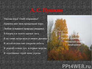 А. С. Пушкин Унылая пора! Очей очарованье! Приятна мне твоя прощальная пора- Люб