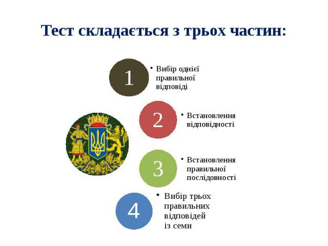 Тест складається з трьох частин: