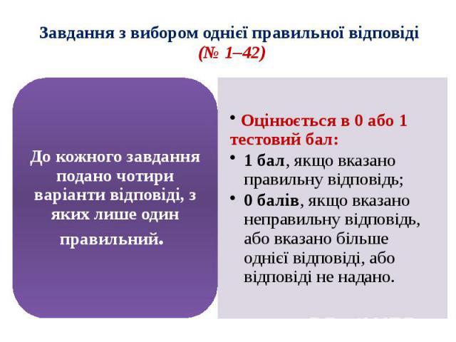Завдання з вибором однієї правильної відповіді (№ 1–42)