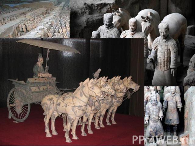 Терракотовая армия принятое название захоронения по меньшей мере 8099 полноразмерныхтерракотовыхстатуй китайских воинов и их лошадей у мавзолея императораЦинь ШихуандивСиане.
