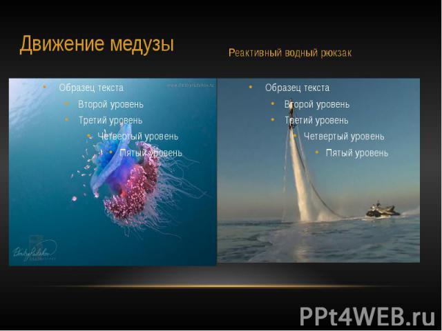 Примером также являются движение медузы и реактивный рюкзак.