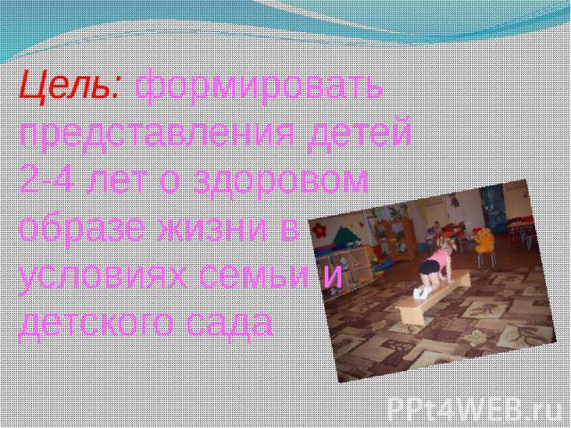 Цель: формировать представления детей 2-4 лет о здоровом образе жизни в условиях семьи и детского сада