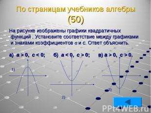 На рисунке изображены графики квадратичных функций . Установите соответствие меж