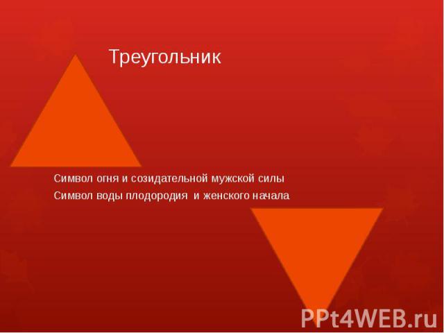 ТреугольникСимвол огня и созидательной мужской силыСимвол воды плодородия и женского начала