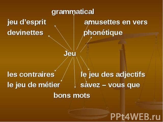 grammatical grammatical jeu d'esprit amusettes en vers devinettes phonétique Jeu les contraires le jeu des adjectifs le jeu de métier savez – vous que bons mots
