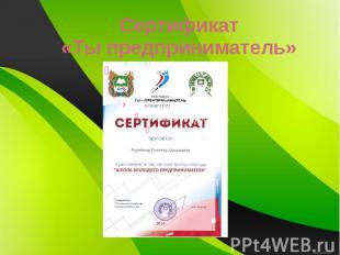 Сертификат «Ты предприниматель»