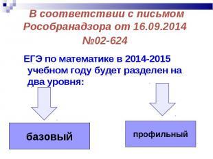 ЕГЭ по математике в 2014-2015 учебном году будет разделен на два уровня: ЕГЭ по