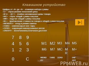 Цифры от «0» до «9» - клавиши набора суммы Цифры от «0» до «9» - клавиши набора