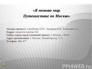 Авторы проекта: Самойлова Е.Ю., Укладова В.В., Булыгина А.А.Кадры: педагоги груп