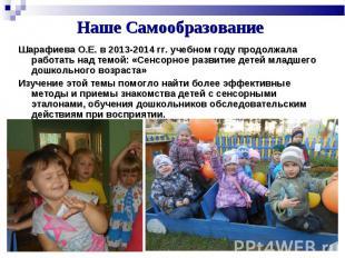 Шарафиева О.Е. в 2013-2014 гг. учебном году продолжала работать над темой: «Сенс