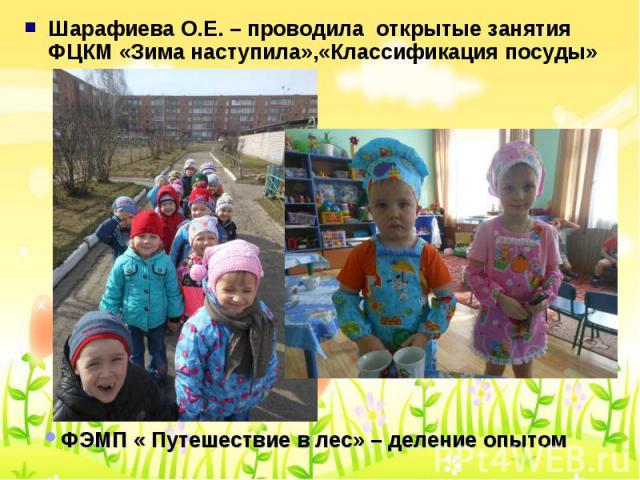 Шарафиева О.Е. – проводила открытые занятия ФЦКМ «Зима наступила»,«Классификация посуды» Шарафиева О.Е. – проводила открытые занятия ФЦКМ «Зима наступила»,«Классификация посуды»