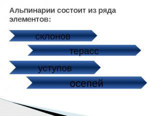 Альпинарии состоит из ряда элементов: