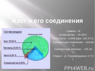 Азот и его соединения Символ - N Атомный вес - 14.0067 Плотность - 0.808 (при -1