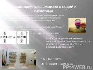 Взаимодействие аммиака с водой и кислотами И водный раствор аммиака, и соли аммо