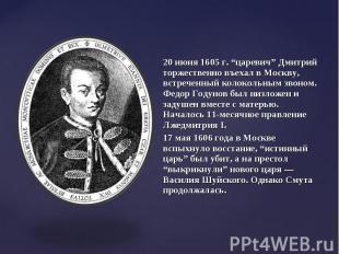 """20 июня 1605 г. """"царевич"""" Дмитрий торжественно въехал в Москву, встреченный коло"""