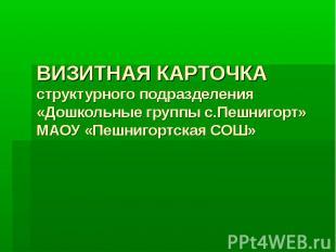 ВИЗИТНАЯ КАРТОЧКА структурного подразделения «Дошкольные группы с.Пешнигорт» МАО