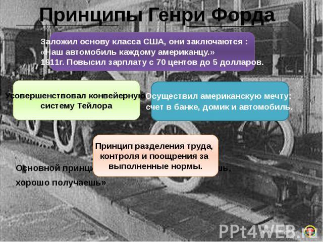Принципы Генри Форда Основной принцип Форда: «Хорошо работаешь, хорошо получаешь»