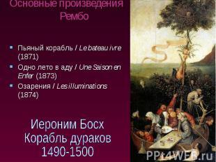Основные произведения Рембо Пьяный корабль / Le bateau ivre (1871) Одно лето в а