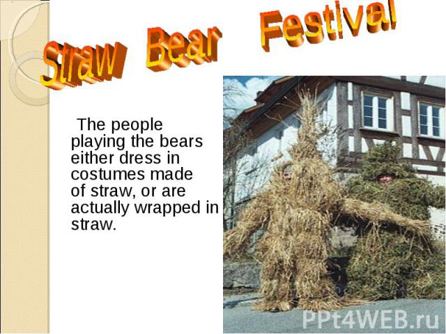 The people playing the bears either dress in costumes made of straw, or are actually wrapped in straw. The people playing the bears either dress in costumes made of straw, or are actually wrapped in straw.