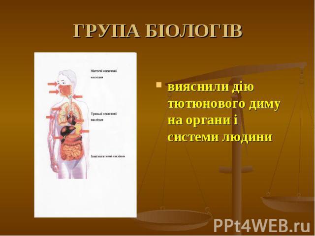 вияснили дію тютюнового диму на органи і системи людини