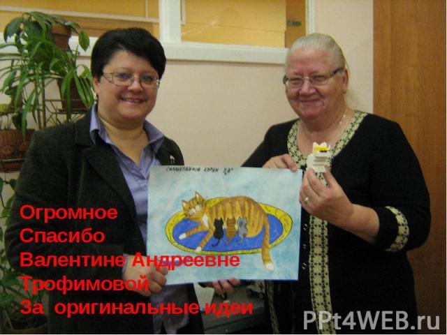 ОгромноеСпасибоВалентине АндреевнеТрофимовойЗа оригинальные идеи