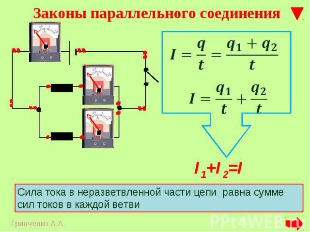 Сила тока в неразветвленной части цепи равна сумме сил токов в каждой ветви