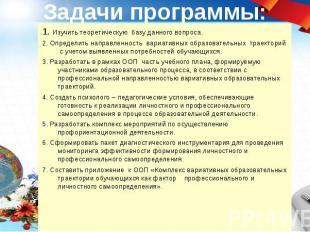 Задачи программы: 1. Изучить теоретическую базу данного вопроса. 2. Определить н
