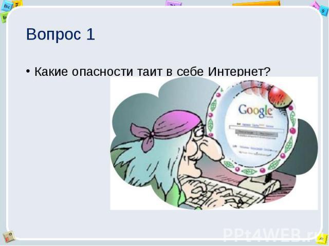 Вопрос 1 Какие опасности таит в себе Интернет?