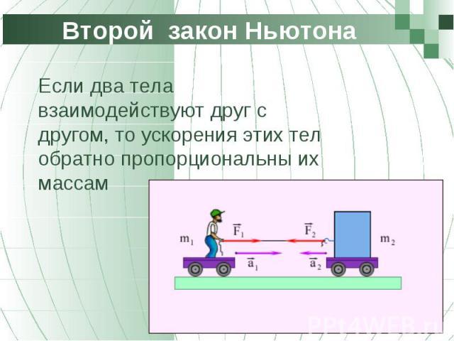 Если два тела взаимодействуют друг с другом, то ускорения этих тел обратно пропорциональны их массам Если два тела взаимодействуют друг с другом, то ускорения этих тел обратно пропорциональны их массам