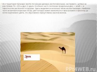 Вся территория Калахари занята песчаными дюнами, расположенными, как правило, це