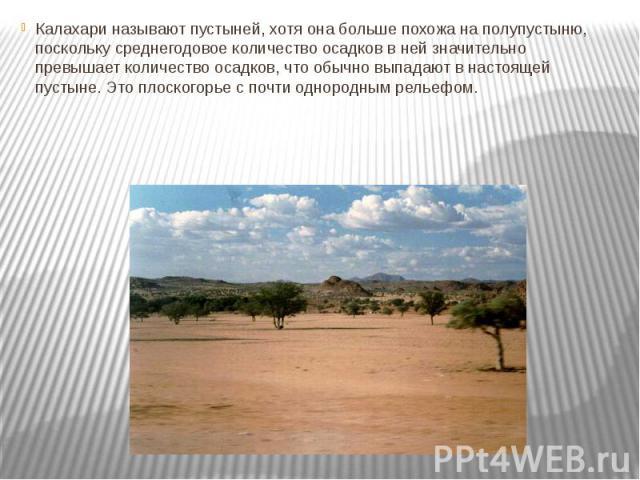 Калахари называют пустыней, хотя она больше похожа на полупустыню, поскольку среднегодовое количество осадков в ней значительно превышает количество осадков, что обычно выпадают в настоящей пустыне. Это плоскогорье с почти однородным рельефом.