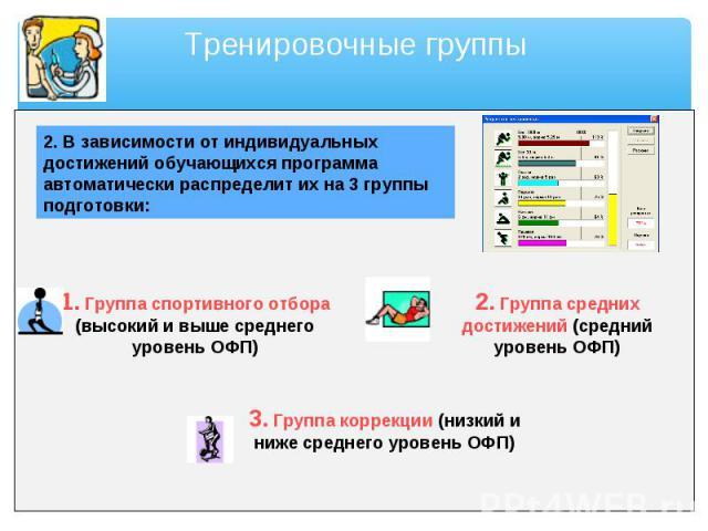 2. В зависимости от индивидуальных достижений обучающихся программа автоматически распределит их на 3 группы подготовки: