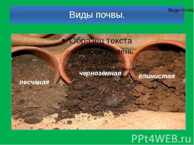 Виды почвы.