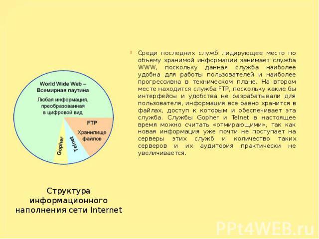 Среди последних служб лидирующее место по объему хранимой информации занимает служба WWW, поскольку данная служба наиболее удобна для работы пользователей и наиболее прогрессивна в техническом плане. На втором месте находится служба FTP, поскольку к…