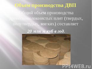 Объем производства ДВП Общий объем производства древесноволокнистых плит (тверды